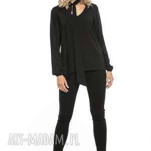 Elegancka bluzka z dekoltem i krawatem, T244, czarny, elegancka, bluzka, szyfon,