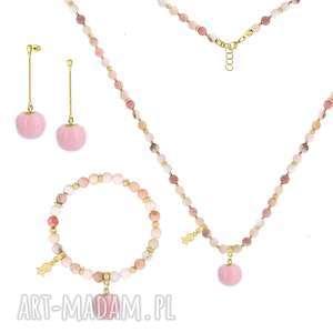 KOMPLET z różowymi pomponami - I ♥ POM POMS - ,opal,pompon,łańcuszek,srebro,metal,minerał,