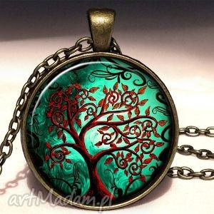 krwiste drzewo - duży medalion z łańcuszkiem egginegg, naszyjnik