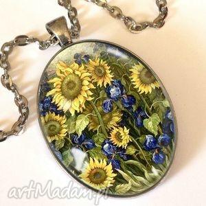 słoneczniki van gogha - owalny medalion z łańcuszkiem - owalny, medalion
