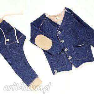 spodnie granatowe melanż baggy - spodnie, baggy, pants, granat, sznurek, łaty