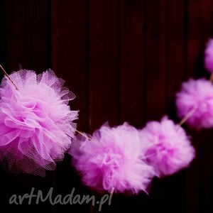 girlanda tiulowe pomponiki - ,girlanda,pompony,tiulowa,tiulowe,różowe,
