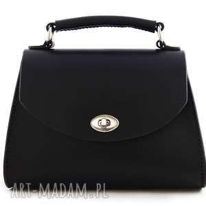 mirons leather goods torebka skórzana lilia czarna, torebki, torebka, skórzanatorebka