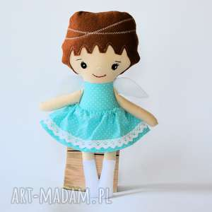 lalki aniołek kolorowy 35 cm turkus, aniołek, lalka, dziewczynka, chrzest