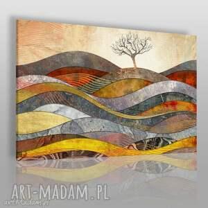 obrazy obraz na płótnie - drzewo wzgórze fale - 120x80 cm (72601)