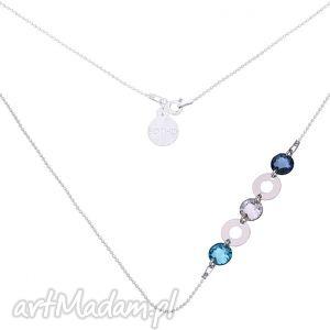 srebrny naszyjnik z karmami i krysztaŁami swarovski crystal - naszyjnik, srebr