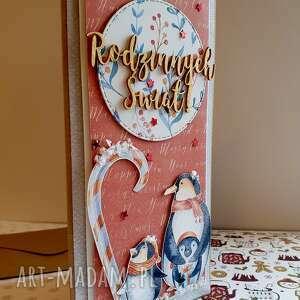kartka świąteczna - rodzinka pingwinów, święta, kartki, scrapbooking, rodzina