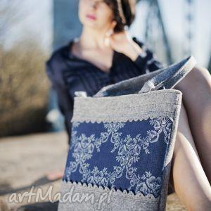 Torebka XL z Falbankami - Szara Jeansem, filc, folk, falbanka, jeans, kwiaty, duża