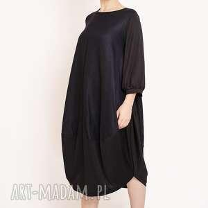 sukienka z marszczonymi rękawami, luzna, marszczony, minimalizm, oversize, casual
