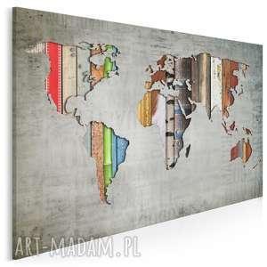 obraz na płótnie - mapa paski 120x80 cm 16901, mapa, paski, kontynenty