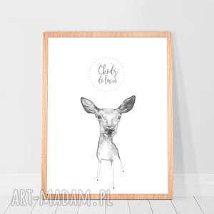plakat chodź do lasu z rysunkiem łani, rysunek, ilustracja, plakat, prezent, dla