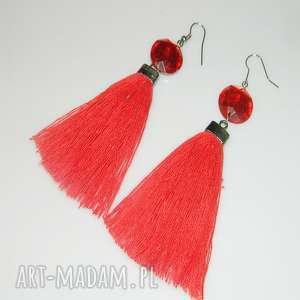 czerwone lniane chwosty, lniane, lniane-kolczyki, unikatowa-biżuteria