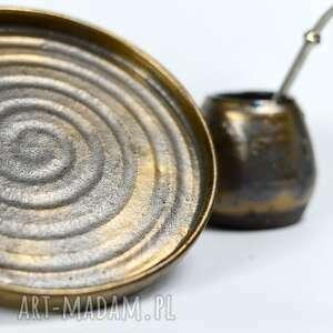 naczynie do yerby - matero w komplecie z talerzem handmade stare złoto 340