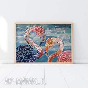 plakat a3 - flamingi, plakat, wydruk, ptaki, obraz, nowoczesny