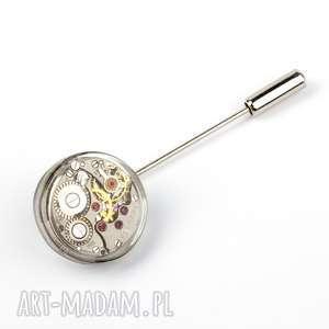męska pin - round i undercover, pin, mechanizm, rękodzieło, posrebrzany
