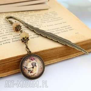 Zakładka do książki Ptak Vintage z agatem, zakładka, do-książki, agat, z-kamieniami