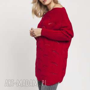swetry oryginalny sweterek, swe181 czerwony mkm, sweter, jesień, wzór, fale