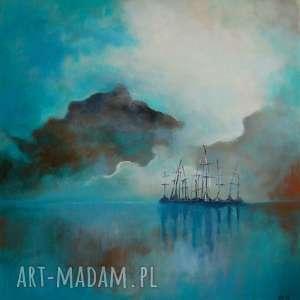 obraz na płótnie - turkusowo-brązowe morze 40/40 cm, morze, brąz, obraz, turkus