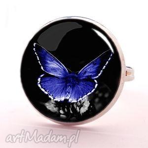 niebieski motyl - pierścionek regulowany - szare pierścionki