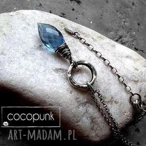 srebro i markiza kwarcu- granatowy naszyjnik, srebro, granatowy, z-kamieniem, modny