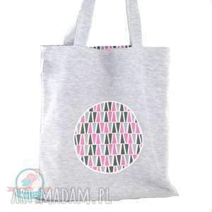 Torba zakupowa z dresu- trójkąty róż, dresówka, torba, zakupy