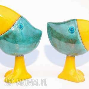 cerama oto szdoki, żółty, turkusowy, ceramika, figurki, zwierzątka