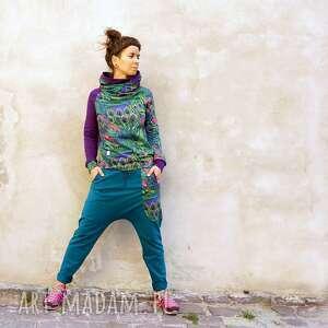 komplet damski maja - pawie pióra, kolorowy dres damski, w print