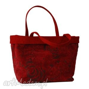 37-0001 Czerwona torebka shopper bag 3w1 / ekologiczna torba na zakupy OWL, modne