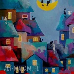 obraz na płótnie - bajkowe miasteczko 30/40 cm, miasteczko, niebieski, bajka, koty
