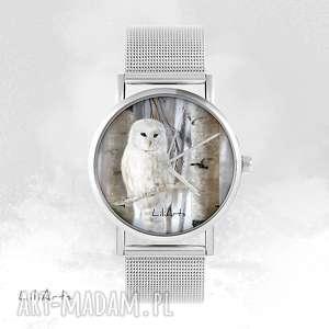 Prezent Zegarek, bransoletka - Biała sowa metalowy, zegarek, bransoletka, metalowa