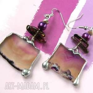 Kolczyki fioletowe z agatem witrazka z-agatem, kamienie