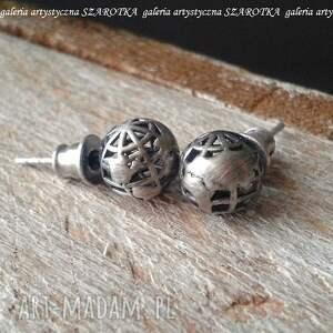 dla globtroterki kolczyki ze srebra, srebro oksydowane, globus kula