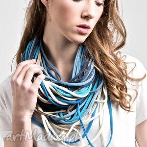 handmade naszyjniki zamotka dzianinowy naszyjnik szalik szal apaszka blue bell
