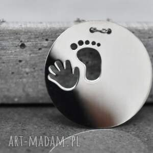 925 srebrny łańcuszek -odcisk stopy i rączki-, stopa, ręka, prezent, chrzest