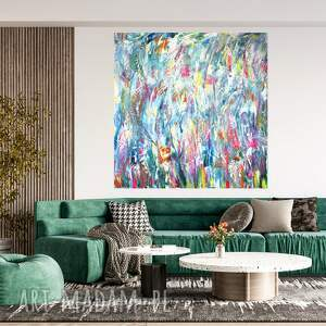 abstrakcja 110x110, obraz pastelowy, nowoczesny obraz, sztuka współczesna