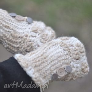 rękawiczki mitenki - rękawiczki, włóczkowe, mitenki, rękodzieło