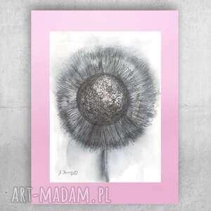 annasko szaro różowy rysunek na ścianę, skandynawska grafika do sypialni