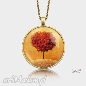 hand-made naszyjniki medalion okrągły słoneczne drzewo