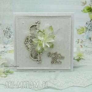 delikatna ślubna biel vol 2 - z pudełkiem, ślub, kartka ślubna, prezent ślubny