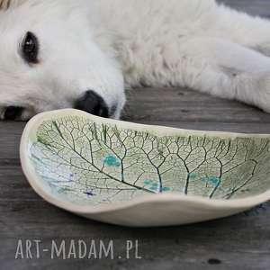 dekoracje liść łopianu, talerz dekoracyjny, liść, łopian, ceramika