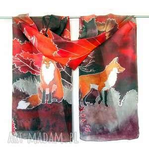 handmade chustki i apaszki czerwony szal jedwabny lisy w japonii
