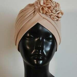 Turban beżowy czapki fascynatory turban,