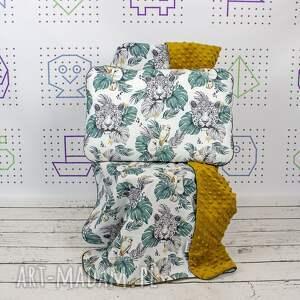 hand-made pokoik dziecka zestaw kocyk i płaska poduszka gepard papugi