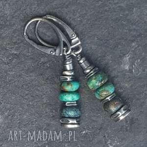 korale kolczyki ze srebra i chryzokoli, wiszące, srebra, srebro