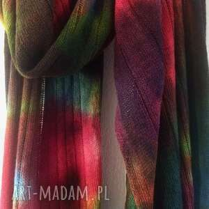 szaliki kolorowy wełniany szal, szalik, wełna, dzianina, ręcznie barwiony
