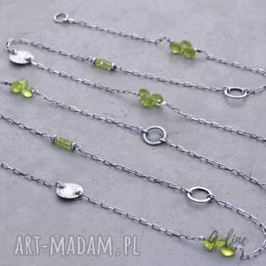 hand-made naszyjniki oliwin. Peridot. Długi srebrny naszyjnik 110