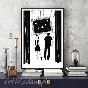 W stronę gwiazd... 30x40 cm., 30x40, a3, plakat, zakochani, miłość, ślub