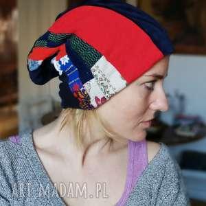 czapka patchworkowa damska etno duża - etno, boho, patchwork, zima, folk, ciepła