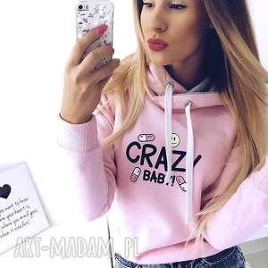 Bluza Crazy Baby róż!, kangurka, nadruk, brokat, młodzieżowa, dziewczęca