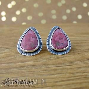 Kolczyki wkrętki z różowym thulitem, tulit, thulit, srebro, sztyfty,